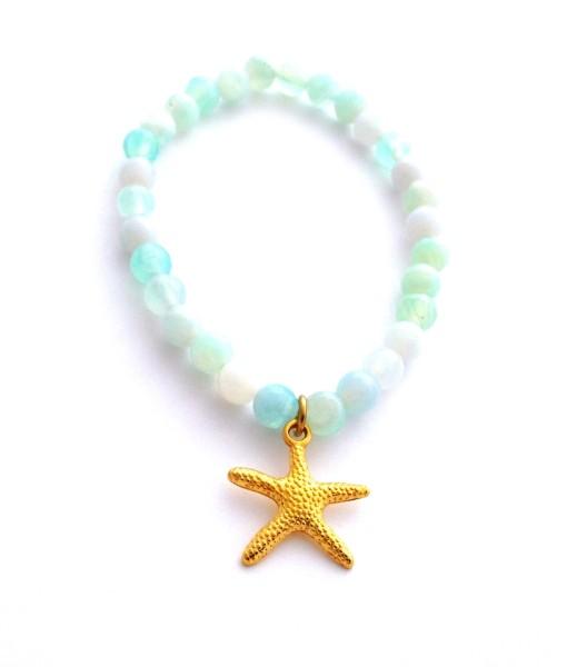 aqua agate starfish bracelet